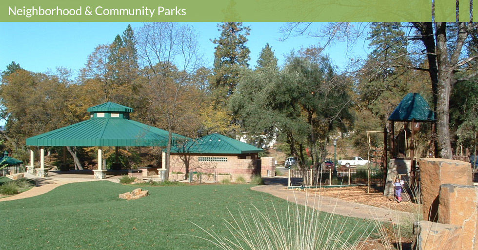 Melton Design Group designed Billie Park in Paradise, CA. Billie Park features shade structures, walking bridges, unique play structures, artistic features, man-made water features, and native plantings.