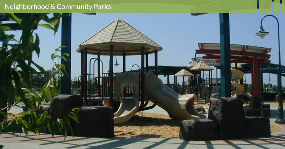 Melton Design Group designed Wildwood Park in Chico, CA. Wildwood Park is a multi-use neighborhood park featuring soccer fields, baseball fields, two different children's play structures for diverse age groups and ability levels, this park also has shaded picnic area, unique sand boxes, artistic interactive musical-tone play structure, and winding walking paths.
