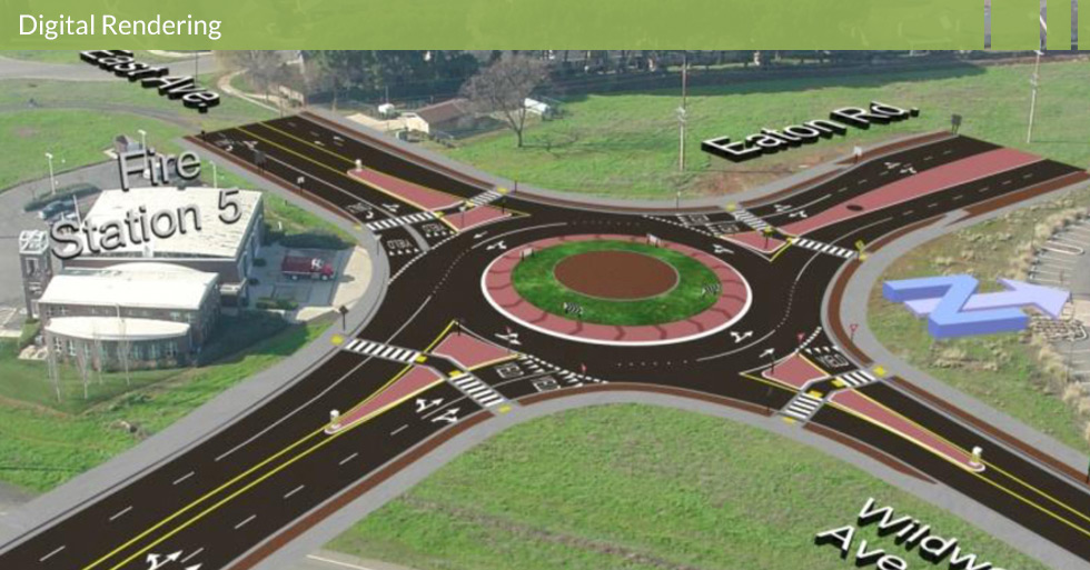 Melton Design Group, a landscape architecture firm, designed the Manzanita Roundabout in Chico, CA. A two-lane, easily maneuverable roundabout with a grassy area in the middle and brick colored concrete.