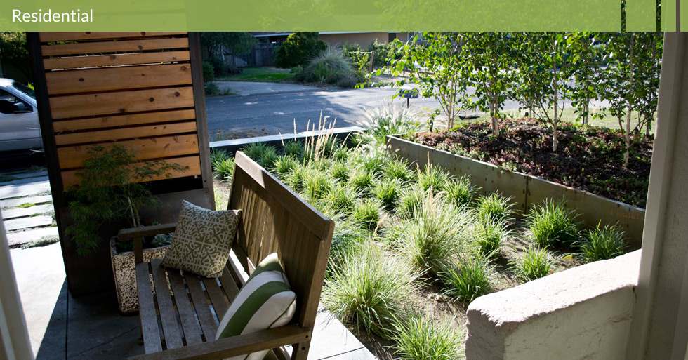 Melton Design Group, a landscape architecture firm, designed this residential home in Chico, CA. Potted plants, grassy outdoor area, modern but organic designed planters.