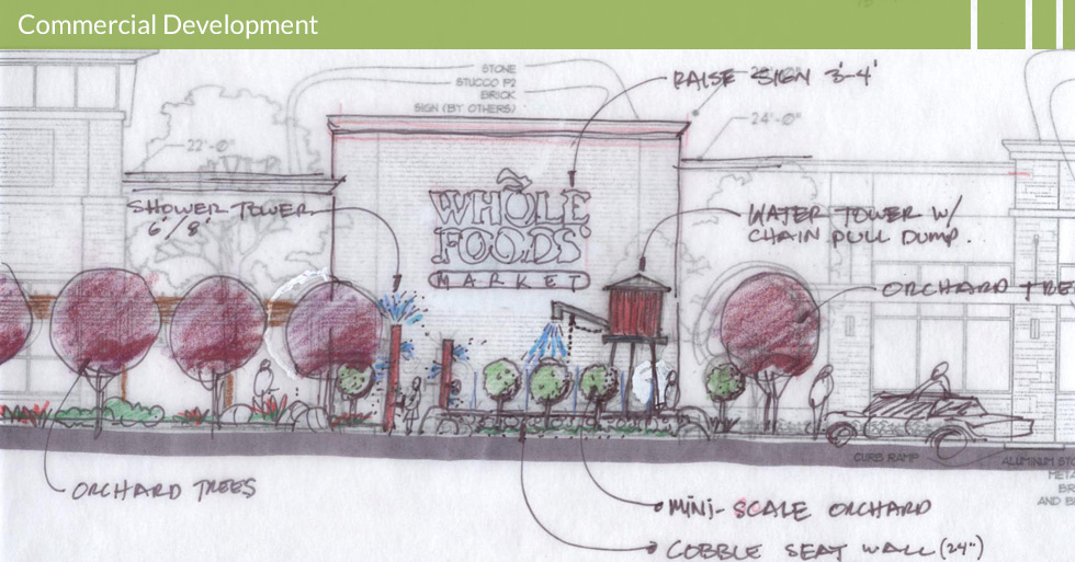 Melton Design Group, a landscape architecture firm, designed Whole Foods in Roseville, CA. Complete with a  mini-scale orchard, near the entrance, a cobblestone seat wall, a water tower with a chain pull dump and shower towers to water the orchard trees.