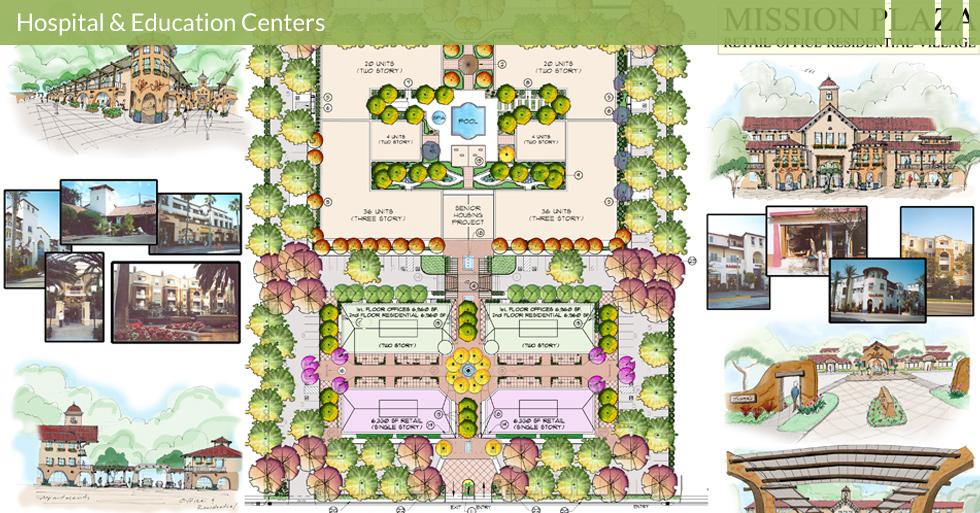 Melton Design Group, a landscape architecture firm, designed the Mission Plaza in Chico, CA.