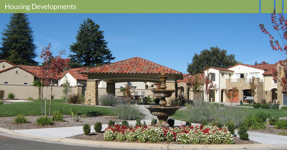 Melton Design Group, a landscape architecture firm, designed Sorrento homes in Chico, CA. This housing development includes grassy areas, beautiful stone embellishments and an eye catching fountain and picnic area.