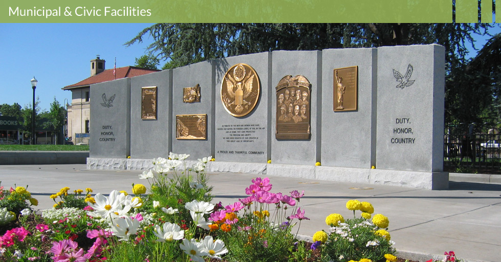 Melton Design Group, a landscape architecture firm, designed the Veteran's Memorial in Chico, CA. An elegant tribute complimented with colorful floral arrangements and a memorial wall.