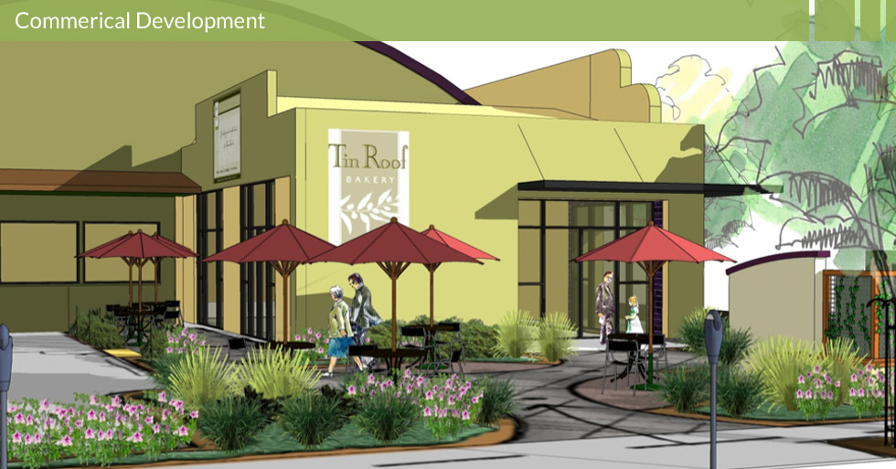 "Melton Design Group designed the corner of 7th and Broadway in Chico, CA to upgrade an area now known as ""SOPA,"" an artisy and booming area in Chico. Tin Roof Bakery anchors the corner with an outdoor seating in a warehouse style building. This retail center contains five separate retail spaces."