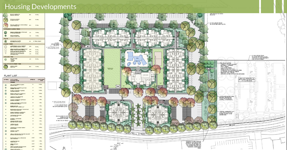 Melton Design Group, a landscape architecture firm, designed Sterling University in Davis, CA. With classic brick entry-ways surrounded by trees and grassy areas.