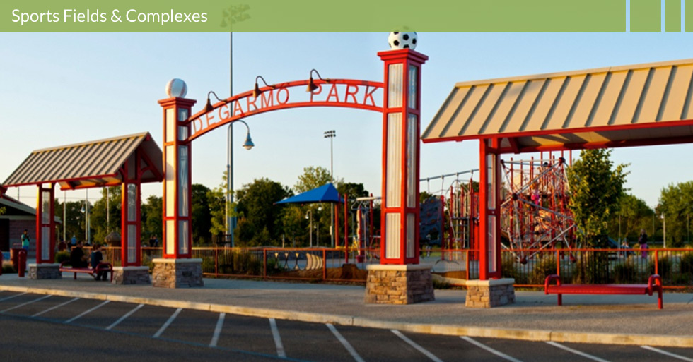 Melton Design Group, a Landscape Architecture firm designed Degarmo Park in Chico, CA. It is a multi-use city park that contains a fenced dog park, baseball fields and soccer fields, shaded picnic areas, ample parking, and children's play structures.