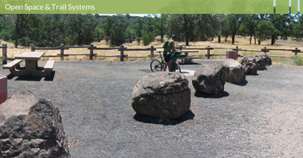 Melton Design Group designed and restored the Horseshoe Lake open space and trail system in upper Bidwell Park. Horseshoe Lake features native plantings, trail systems, designated picnic areas, parking area all in the natural setting of upper Bidwell Park.