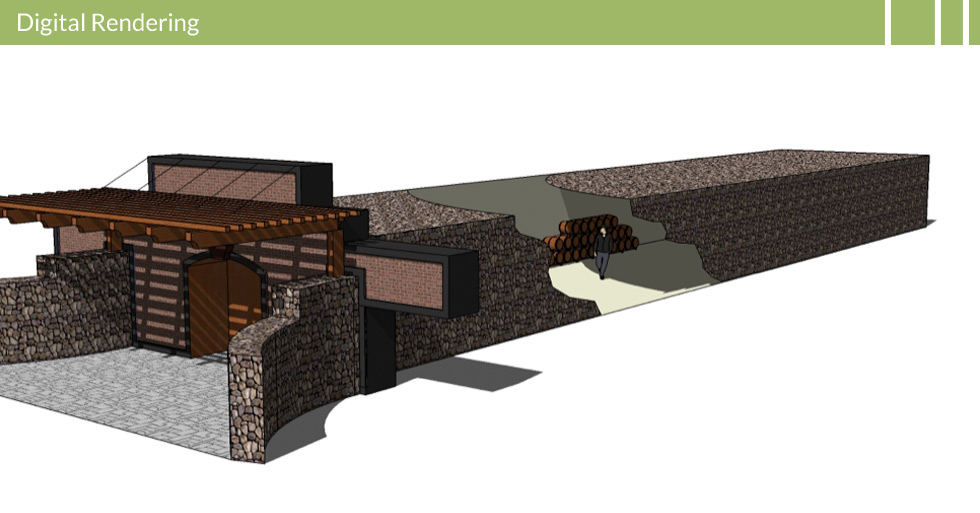 Melton Design Group designed the wine tunnel at Nichelini Winery in Napa, CA. The digital rendering features the wine tunnel made of natural stones with a wooden entry trellis.